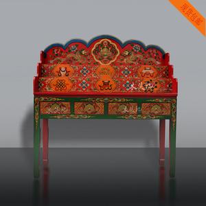 藏式彩绘佛龛佛台供桌实木立柜财神柜佛柜观音柜神台仿古中式家具