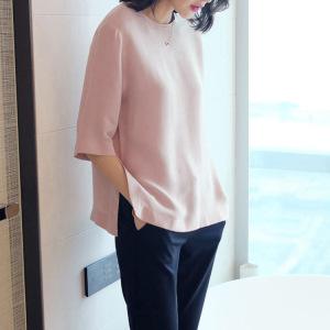 真絲短袖上衣女 2020夏季寬松大碼純色圓領重磅桑蠶絲t恤女半袖