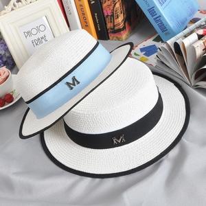 英倫白色女士包邊平頂草帽M標小禮帽遮陽帽平頂帽子夏季平沿逛街