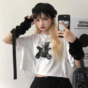 白色T恤女夏季韓版ins復古小熊印花寬松短款小心機短袖露臍上衣潮