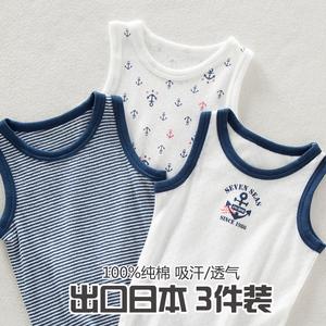夏季兒童無袖T恤男童小男孩寶寶中大童純棉網眼背心彈力透氣吸汗