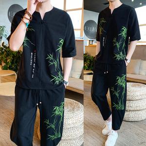 中國風刺繡唐裝男青年漢服套裝中式復古男士薄款夏季茶服兩件套裝