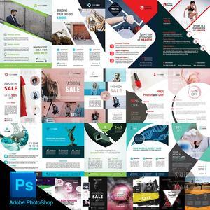 简洁企业产品DM宣传单页招贴海报版式设计模板PSD分层素材 P602