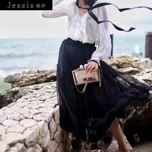 袺夕(Jessis)半身裙 2017夏季新款不规则半身裙荷叶边装饰