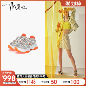 millie's/妙麗2020夏季商場同款運動風休閑鞋厚底女涼鞋LXZ02BL0