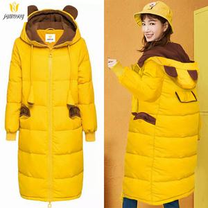 2018冬季时尚棉袄女中长款学生休闲可爱小熊耳朵外套加绒棉衣棉服