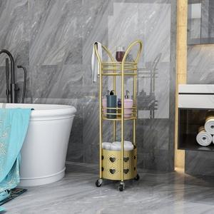 輕奢浴室置物架落地衛生間收納臟衣籃多功能多層神器衛浴三角架子