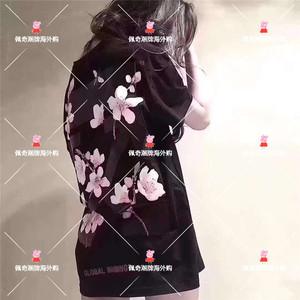 代购 OFFWHITE19新款樱花后背箭头短袖OW套头圆领男女款黑粉色T恤