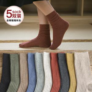 袜子女棉线中筒袜ins潮韩版日系厚中长袜秋冬季黑色堆堆袜女韩国