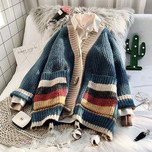 慵懶風毛衣開衫女韓版寬松2019新款秋冬法式上衣外穿森系針織外套
