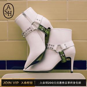 ASH女鞋2019秋季新款BRITNEY时尚潮流铆钉细跟尖头短靴马丁靴女