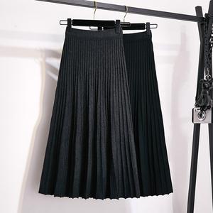 針織半身裙秋冬女2019新款黑色高腰中長款a字毛線顯瘦百褶長裙子