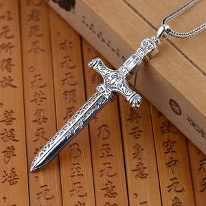 S925純銀寶劍吊墜項鏈男款歐版劍形雕花項墜達摩克利斯之劍吊墜