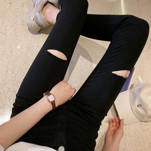 新款韩版高腰弹力打底裤女外穿紧身破洞小脚裤黑色显瘦铅笔裤秋款