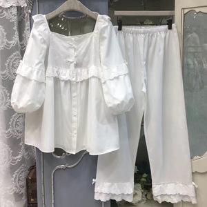 韩版睡衣女士夏纯棉休闲套装甜美可爱公主风蕾丝薄款家居服春秋季