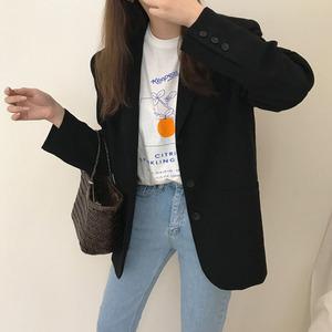 欧货休闲短款西装外套女2019秋季新款修身显瘦黑色长袖西装领外套