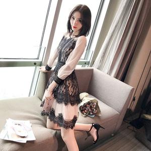 2019夏装新款蕾丝肉色连衣裙女韩版修身显瘦中长款气质淑女装裙子