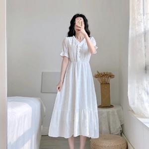 卡所2020夏季新款流行裙子桔梗法式復古氣質仙女小香風白色連衣裙