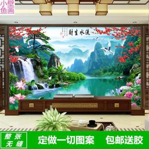 5d中式客厅山水风景电视背景墙壁纸迎客松壁画8d凹凸墙纸影视墙布