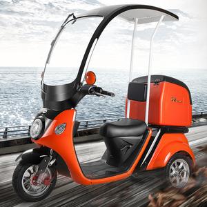 健步A30摇摆自平衡带棚三轮电动电瓶车外卖送餐车保温箱双组电池