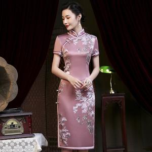 旗袍2020年新款復古中國風日常優雅老上海中年女媽媽改良版連衣裙