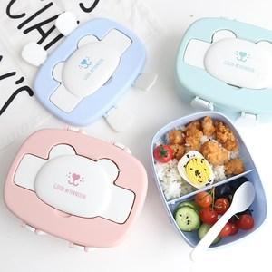 便当餐盒儿童水果盒 便携式 幼儿园小学生分格带盖餐饭盒卡通保鲜