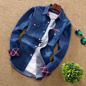 春秋款韩版潮流深蓝色牛仔衬衫男士帅气外穿长袖衬衣百搭牛子外套