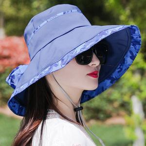 帽子女夏大沿遮陽帽遮臉時尚百搭防紫外線折疊沙灘涼帽防曬太陽帽