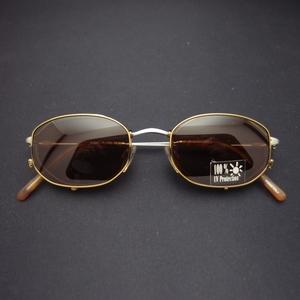 暇步士 復古單梁 48*35mm古銅色框棕鏡長方棱框 個性墨鏡掛片夾片