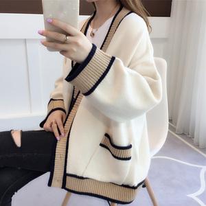 韓國新款寬松常規拼接白邊大紅色針織開衫女毛衣年外穿風中上衣