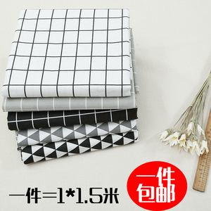 棉麻黑白格子布料小清新ins沙發桌布背景裝飾印花亞麻手工diy面料