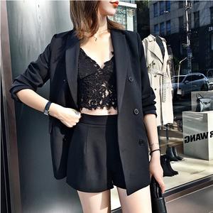 2019春季新款小西装外套两件套韩版时尚名媛气质短裤收腰套装女夏