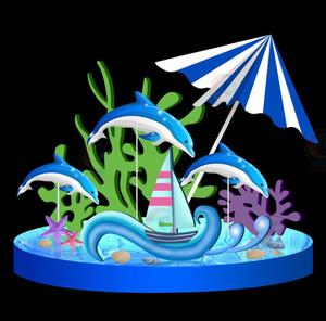 夏季美陈dp点海洋系列商场中庭吊饰酒店4s店展厅售楼部摆放装饰