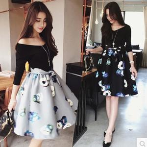 春秋胖妹妹200斤大码蓬蓬裙连衣裙性感V领修身打底裙假两件套时尚