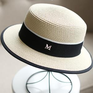 平頂白色草帽女式帽子夏天涼帽平沿小禮帽M標帽子遮陽女款太陽帽