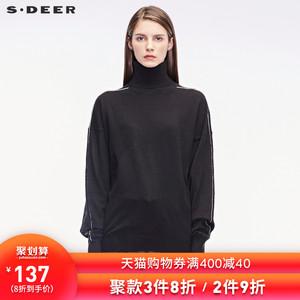sdeer圣迪奥2019冬装简约白条撞色落肩高领打底针织毛衣S18463502