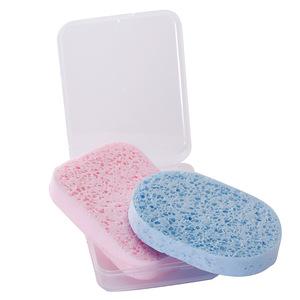 加大加厚洗臉撲潔面撲帶盒子天然竹炭海藻洗臉海綿卸妝棉寶寶潔膚