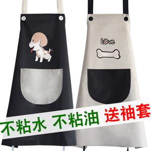 厨房可爱围裙袖套防水防油韩版时尚情侣?#20449;?#32617;衣工作服定制印logo
