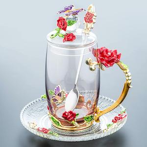 珐琅彩水杯玻璃杯子家用套装花茶水晶咖啡杯啤酒杯带把结婚礼物