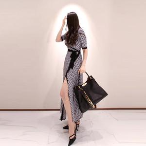 一片式裹身裙印花连衣裙夏季中袖复古收腰法式长款过脚踝气质长裙