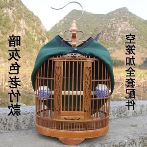 竹镂空雕龙竹鸟笼子画眉鸟笼竹八哥腊嘴竹制鸟笼直径33北欧欧美
