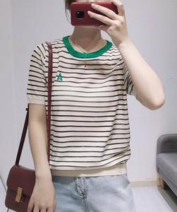 圣仕蓮2951 撞色條紋字母A短袖針織衫薄款天絲T恤冰麻上衣不起球