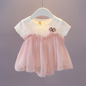 童裝女寶寶夏裝短袖娃娃衫0-1-2-3歲女童雪紡T恤衫嬰兒短袖衣服潮