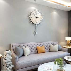派卡龙创意欧式钟表 现代简约挂钟客厅音乐时尚挂表静音装饰钟
