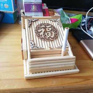 纯手工制作一次性筷子手工艺品自动弹烟盒
