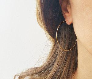 原創品牌手工制作14K包金法式超細超輕圓圈耳圈925純銀耳環不掉色