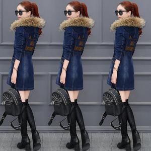 加棉加厚牛仔外套女中长款2019新款韩版收腰棉服冬季保暖棉衣棉袄