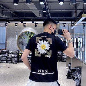 歐洲站短袖男潮牌 夏季雛菊印花體恤衫修身燙鉆男半袖男士網紅T恤