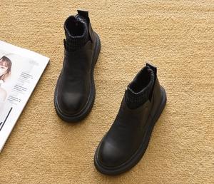 2019新款春秋平底短靴平跟馬丁靴單靴短筒雪地靴踝靴厚底鞋女靴子