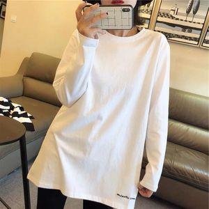 2019秋冬新款白色t恤女长袖宽松中长款百搭纯棉刺绣打底衫上衣潮